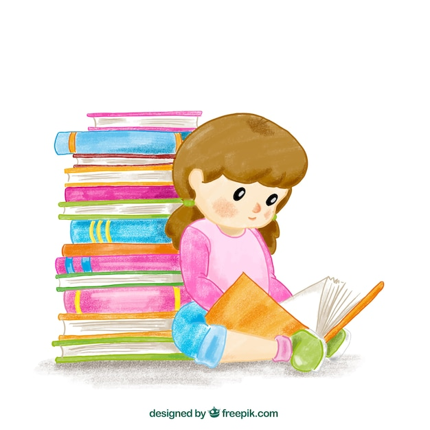 Watercolor background of girl reading a book Free Vector
