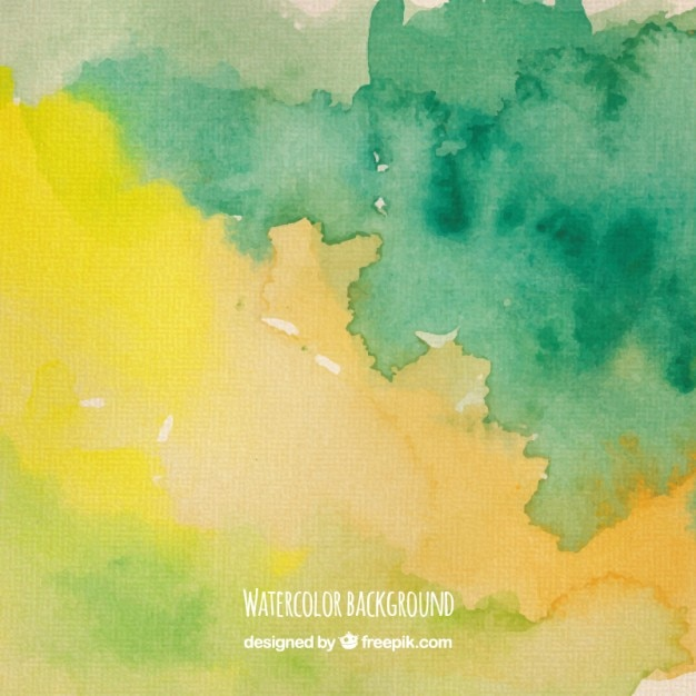 Watercolor background in green and yellow tones Free Vector