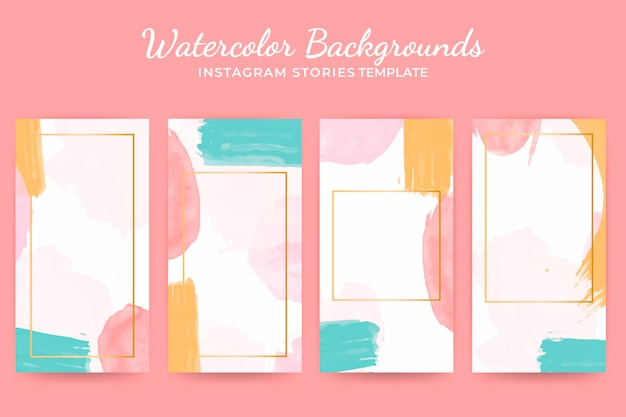 Watercolor background instagram stories templates set Free Vector