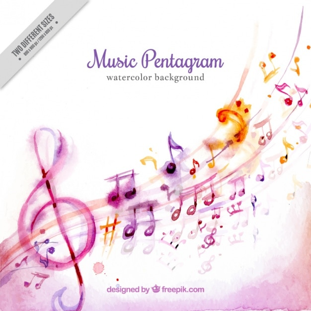 Watercolor background of beautiful musical notes Free Vector