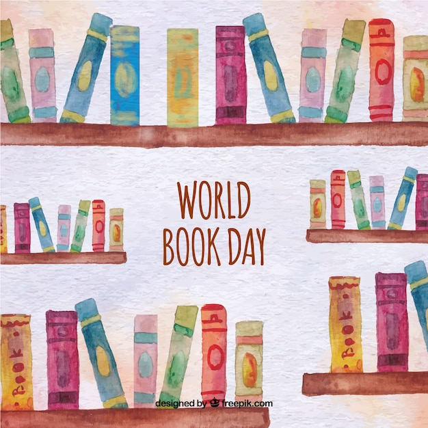 Watercolor background of bookshelves with books Vector | Free Download