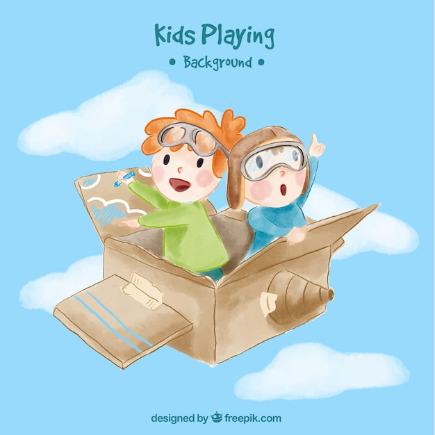 Watercolor background of children flying in a box Free Vector