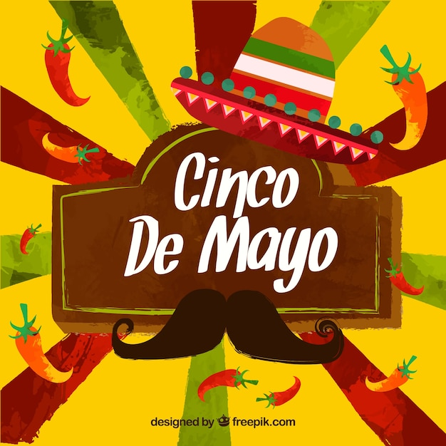 Watercolor Background Of Cinco De Mayo With Mexican Elements Free Vector