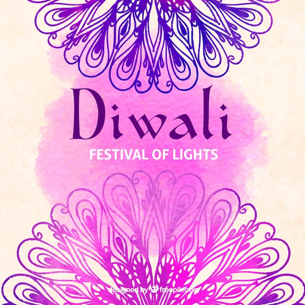 Watercolor background of diwali with mandalas