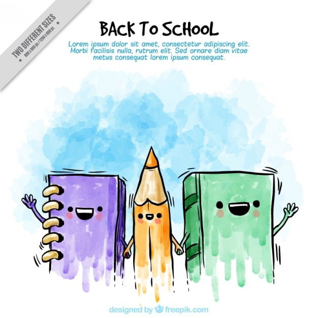 Watercolor background of friendly school books and pencil Free Vector