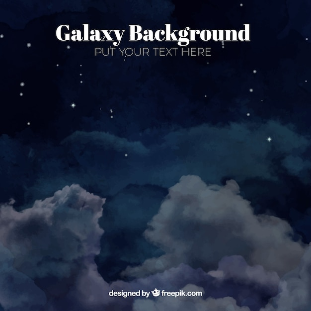 Watercolor background of galaxy with clouds