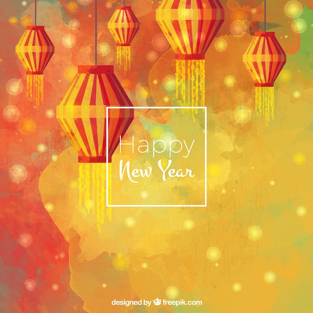 Watercolor background of happy chinese new year with lanterns