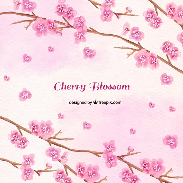 Watercolor background of pink flowers\ branches