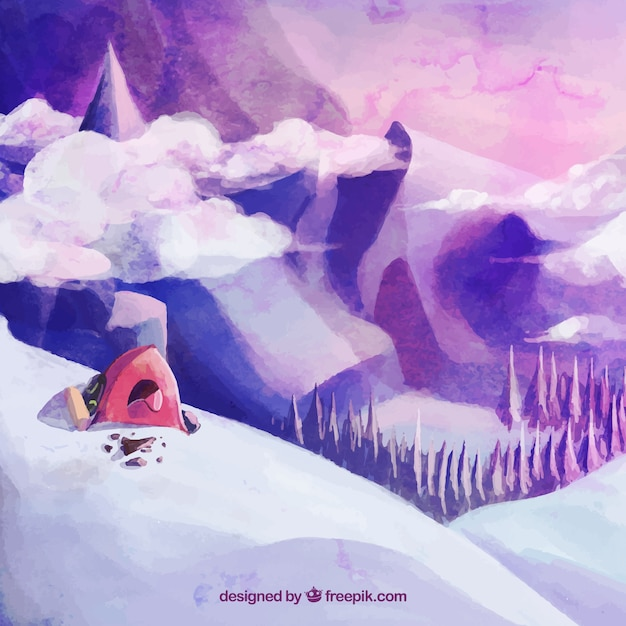 watercolor background of snowy mountains Free Vector