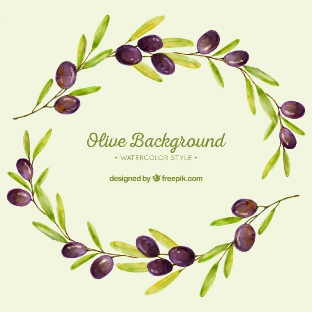 Watercolor background of olive branches Free Vector