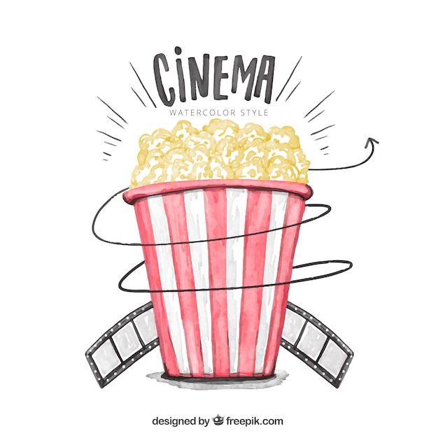 Watercolor background of popcorns Free Vector