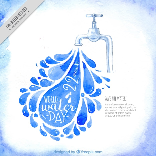 Watercolor background of tap and water droplets Free Vector