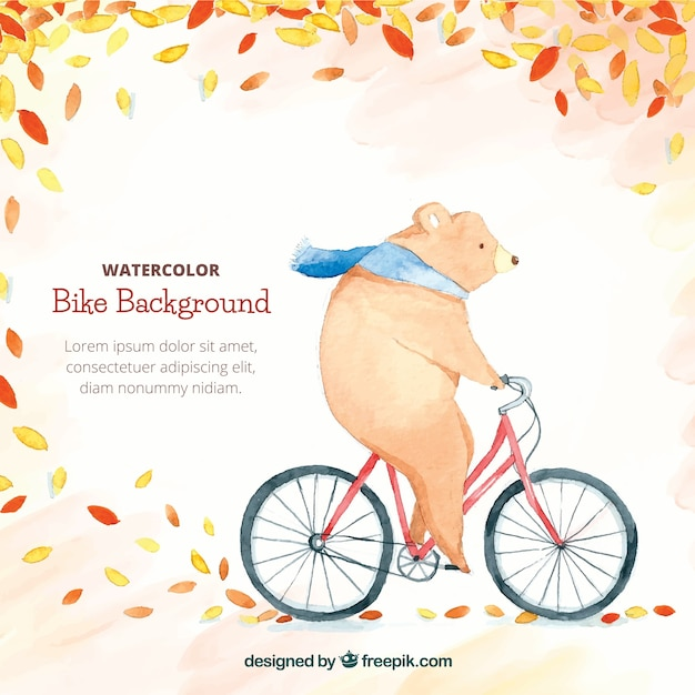 Watercolor background with bear riding bike Free Vector