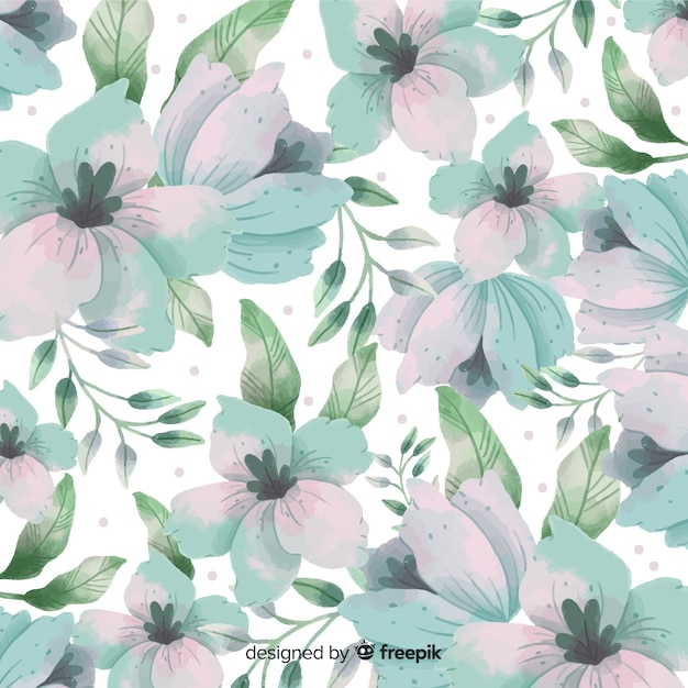 Watercolor background with beautiful flowers Free Vector