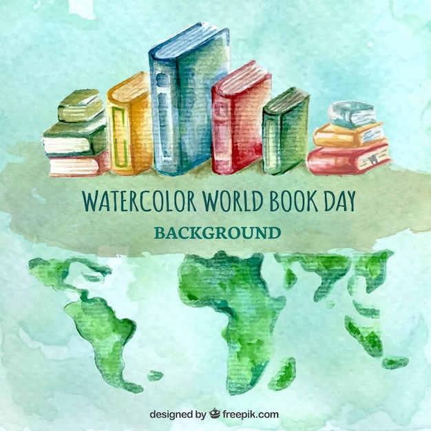 Watercolor background with books and world map vector free download watercolor background with books and world map free vector gumiabroncs Image collections