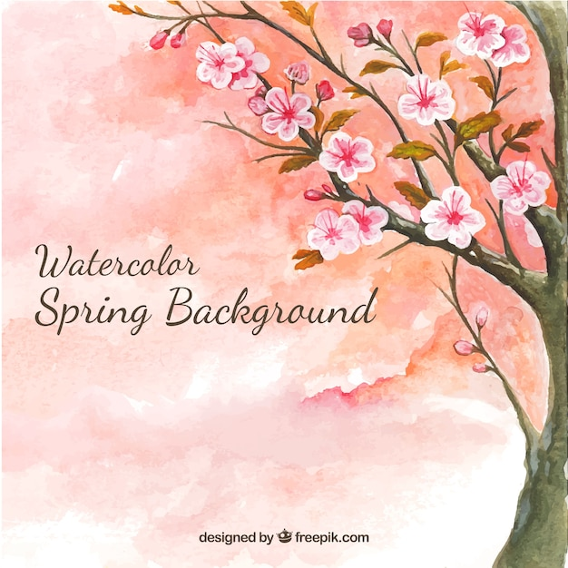 Watercolor background with cherry tree Free Vector