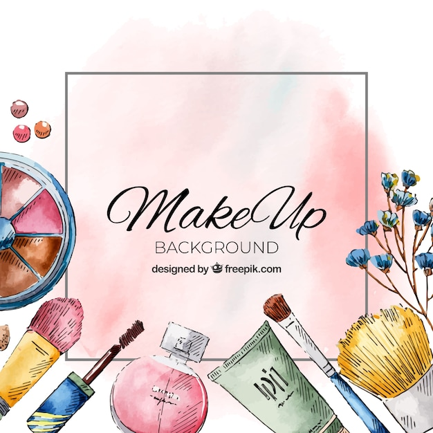 Watercolor background with cosmetics Vector | Free Download