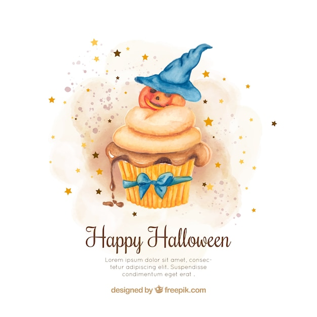 Watercolor background with cupcake and decorative halloween pumpkin Free Vector