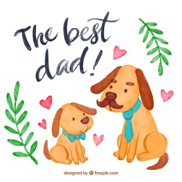 Watercolor background with cute dogs for father's day