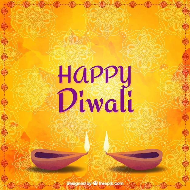 Watercolor background with diwali oil lamps