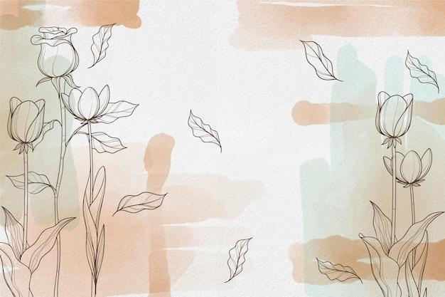 描画要素と水彩の背景 無料ベクター