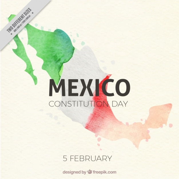 Watercolor background with flag of mexico Free Vector