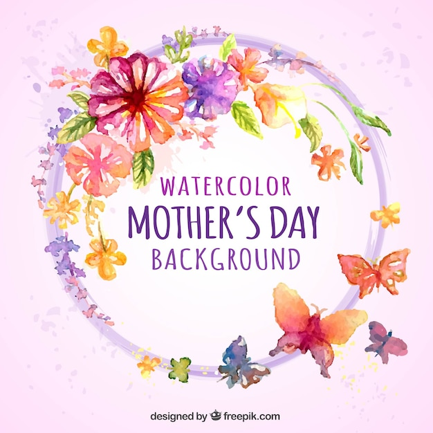 Watercolor background with flowers and\ butterflies for mother\'s day