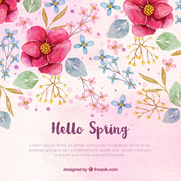 Watercolor background with flowers and leaves Free Vector