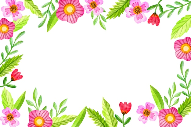 Watercolor background with flowers Free Vector