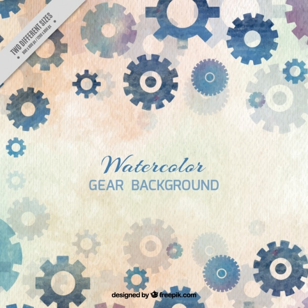 Watercolor background with gears in blue tones Free Vector