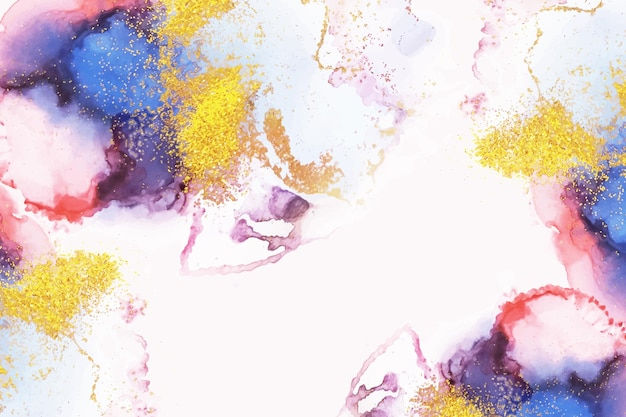 Watercolor background with golden foil Free Vector
