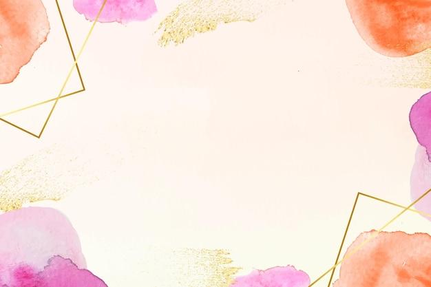 金箔と水彩の背景 無料ベクター