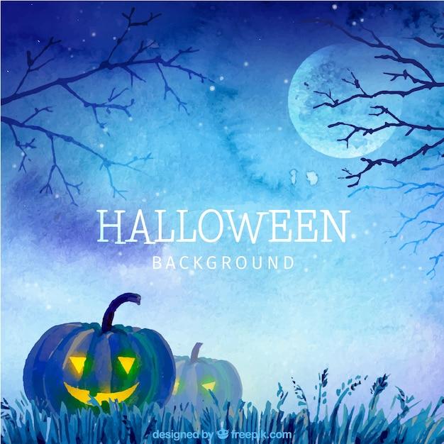 Watercolor background with halloween pumpkins\ in blue tones