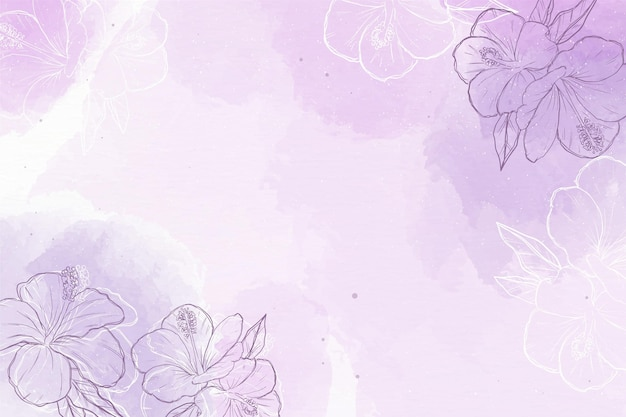 Watercolor background with hand-drawn elements Free Vector