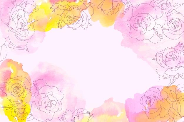 Sfondo acquerello con elementi floreali disegnati a mano Vettore gratuito
