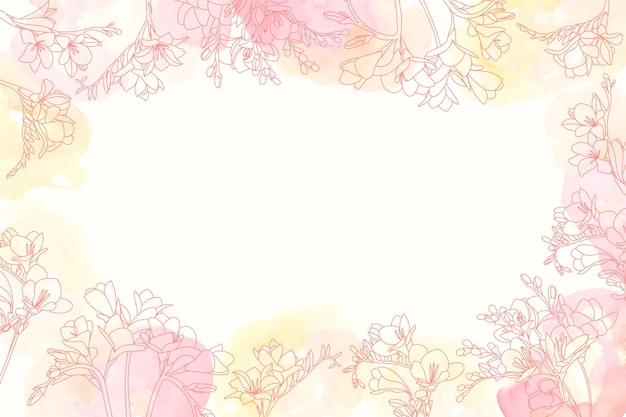 手描きの花の要素と水彩の背景 無料ベクター