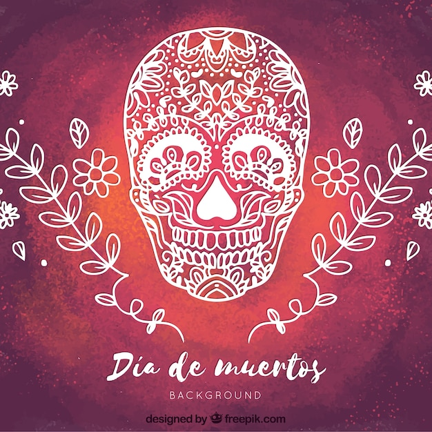 手で描いた水彩の背景メキシコの頭蓋骨 無料ベクター