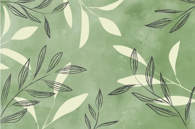 葉と水彩の背景 無料ベクター