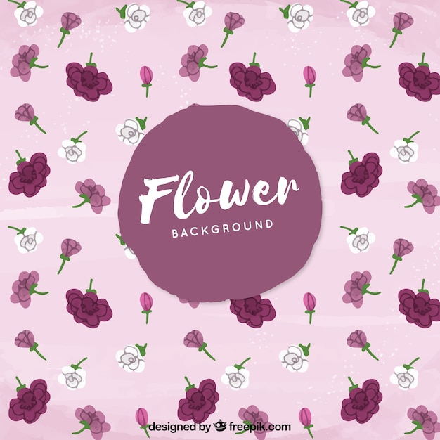 Watercolor background with modern flowers Free Vector