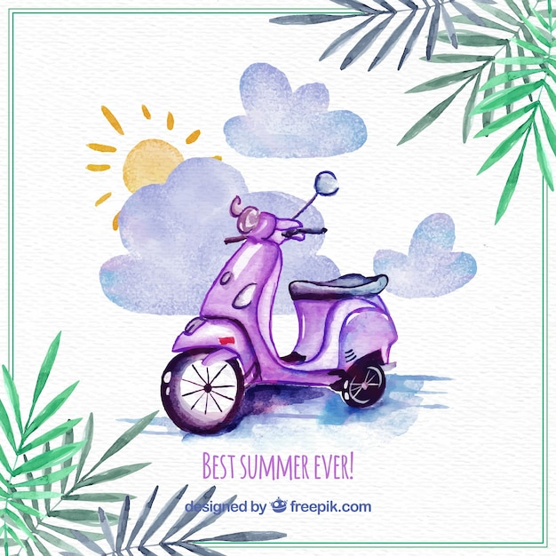 Watercolor background with motorcycle and palm\ leaves