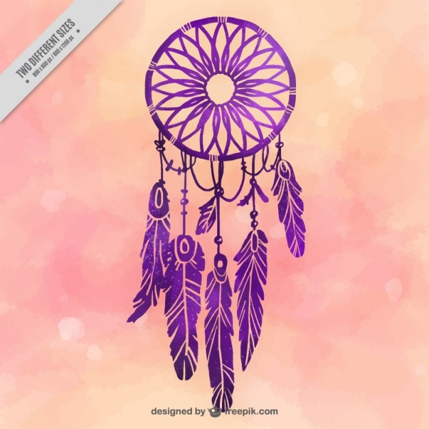 Watercolor background with purple dream catcher Free Vector