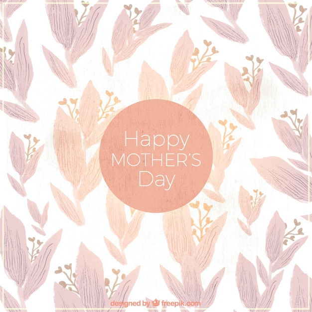 Watercolor background with purple flowers for\ mother\'s day