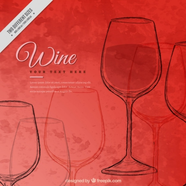 Watercolor background with red wine glass sketches Free Vector