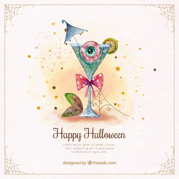Watercolor background with scary halloween cocktail Free Vector