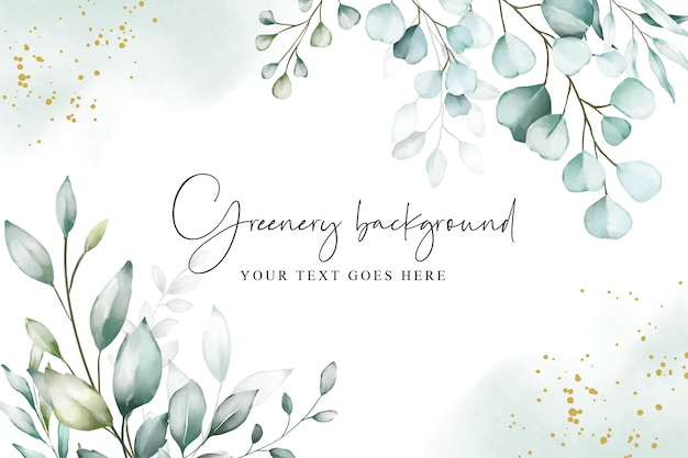 Watercolor on background with soft greenery Premium Vector