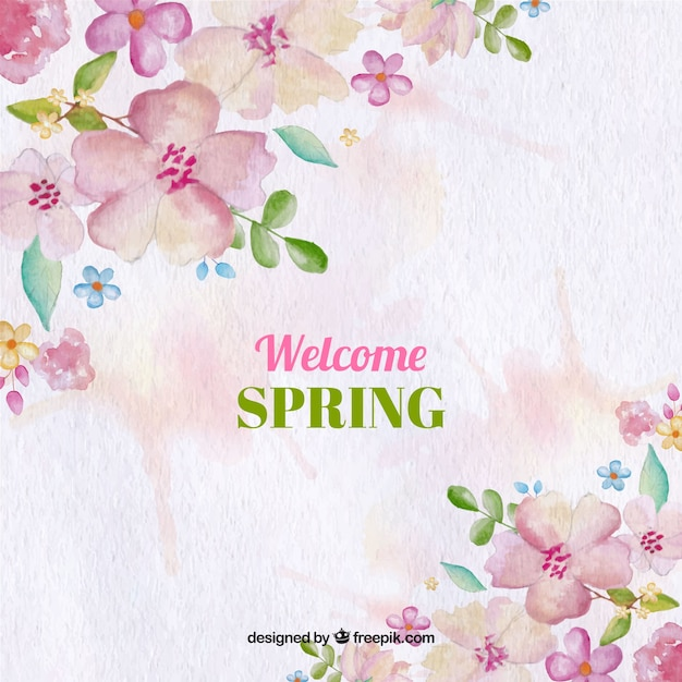 Watercolor background with spring flowers Free Vector