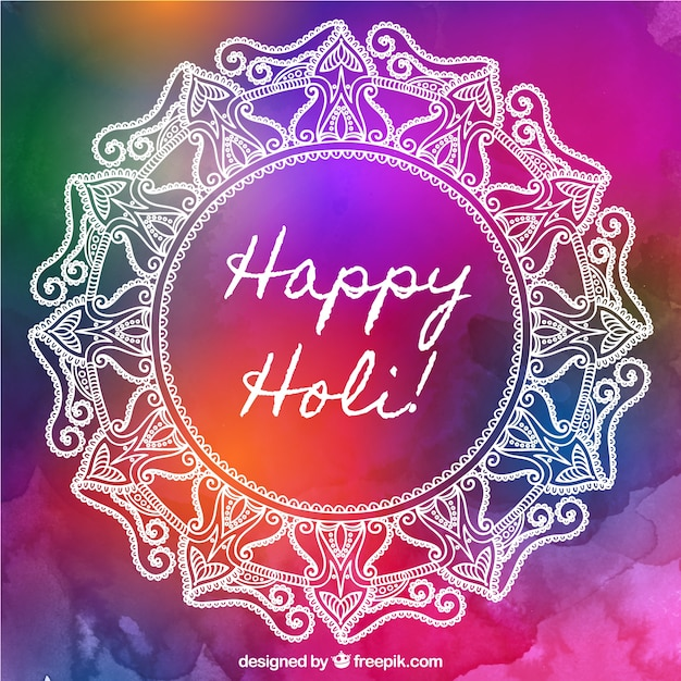 Watercolor background with white mandala for holi festival Free Vector