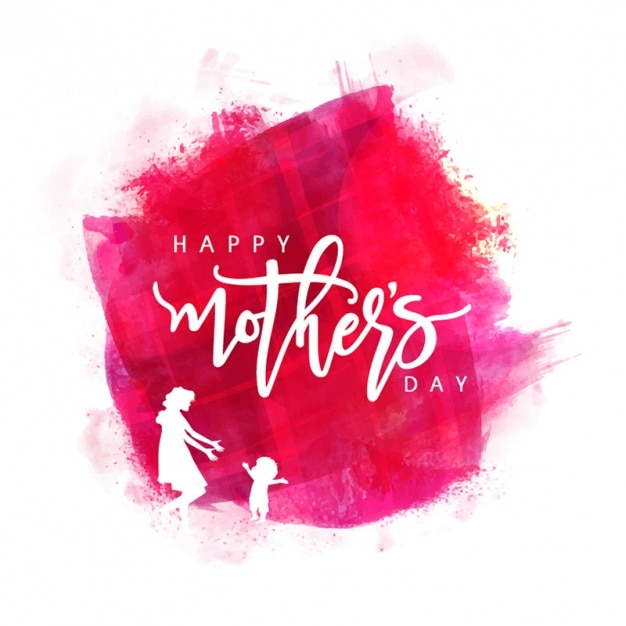 Watercolor background with white silhouettes for mother's day Premium Vector