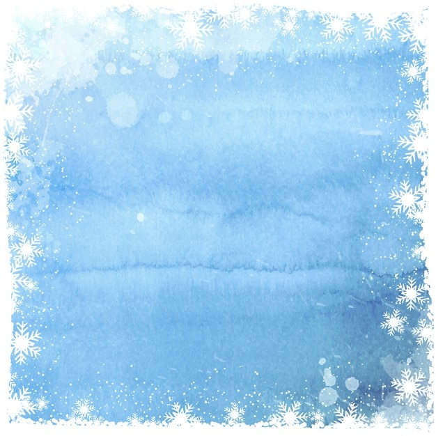 Watercolor background with white snowflakes frame Free Vector
