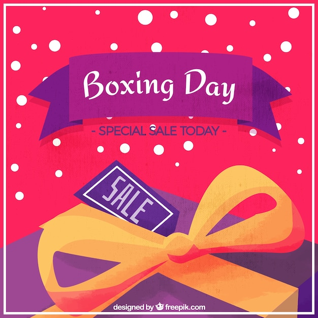 Watercolor background with yellow bow for\ boxing day